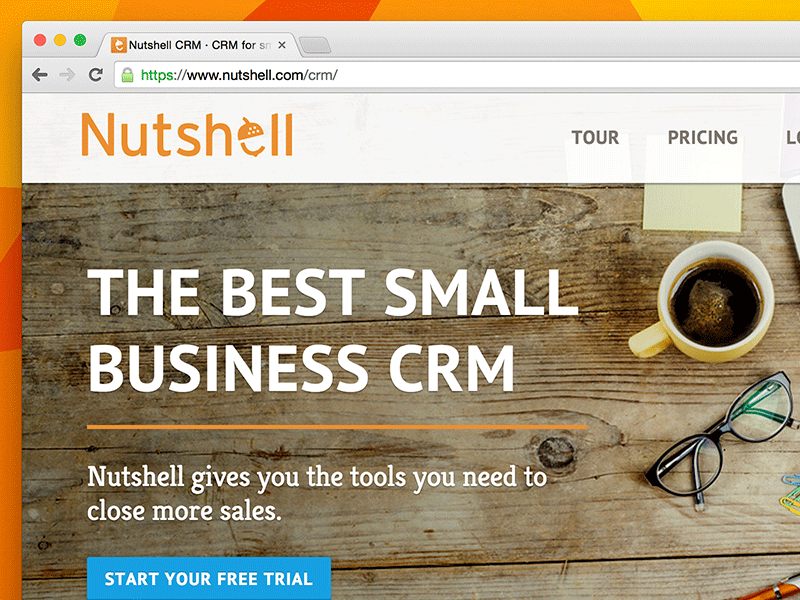 Screenshot of Nutshell home page design.