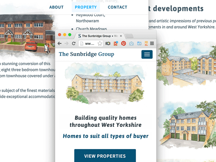 Screenshot of The Sunbridge Group web and mobile design.