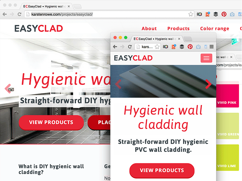 Screenshot of Web Design Harrogate, EasyClad hygienic wall cladding responsive website.