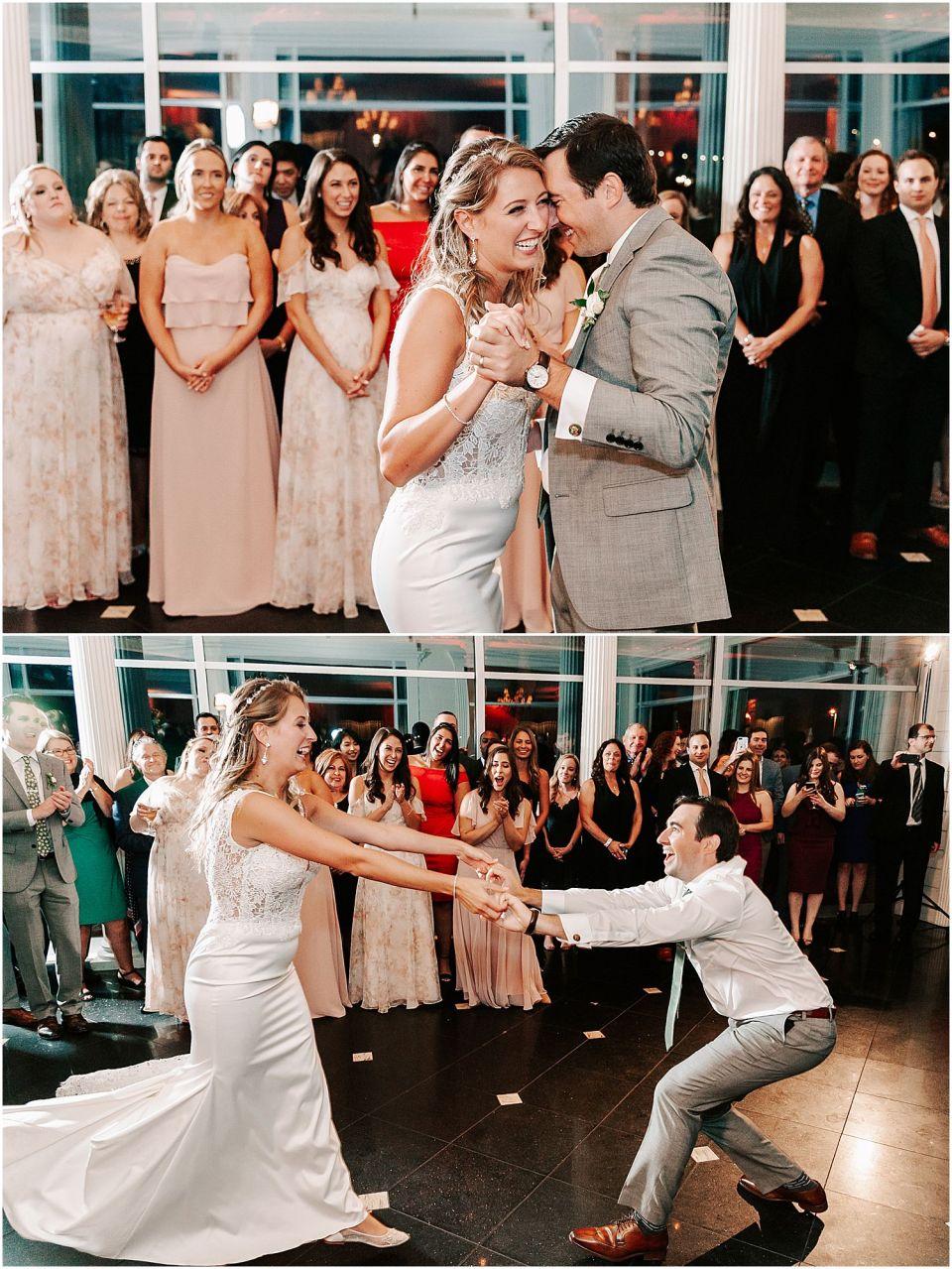 Capturing the bride and groom dance at this Mallard Island Yacht Club Wedding