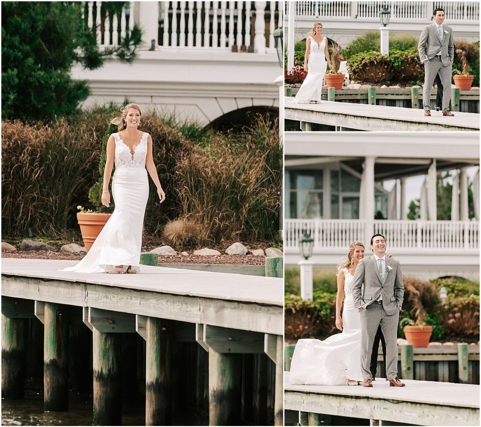 Capturing the groom patiently waiting for his bride at this Mallard Island Yacht Club Wedding