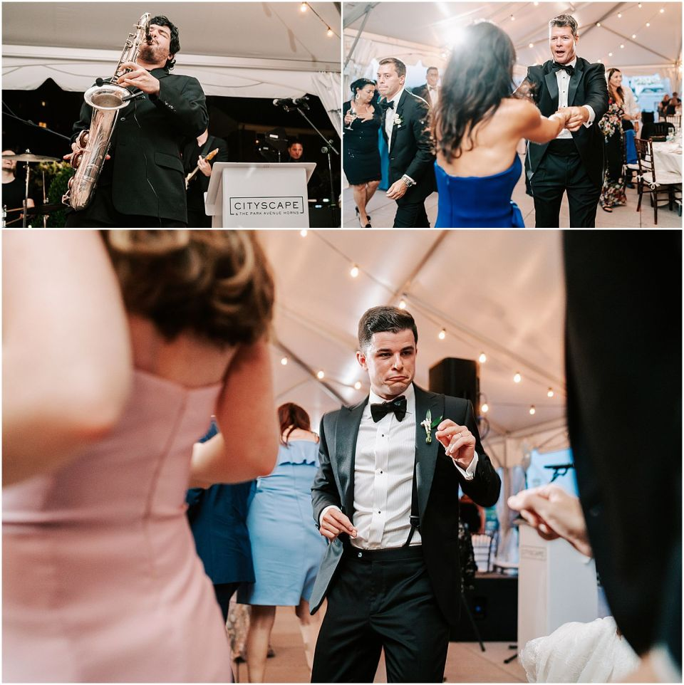 Party dancing shots at this Molly Pitcher Inn wedding