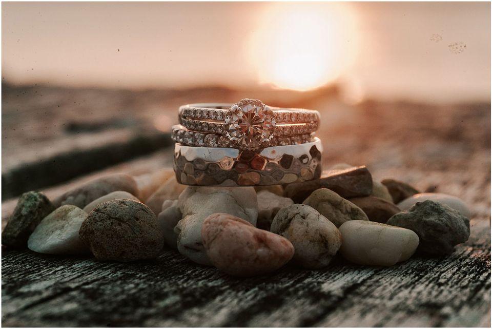 Sunset ring shot at this Avalon Yacht Club Wedding