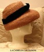 cappello in paglia rosa antico - collezione - la camelia collezioni