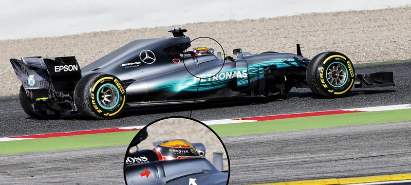 Mercedes seeks cooling through shark fin chimney