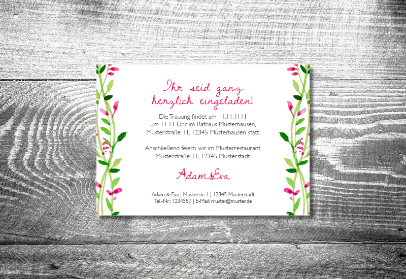 Hochzeit Blumenkranz  2Seitig  ab 070   kartlerei