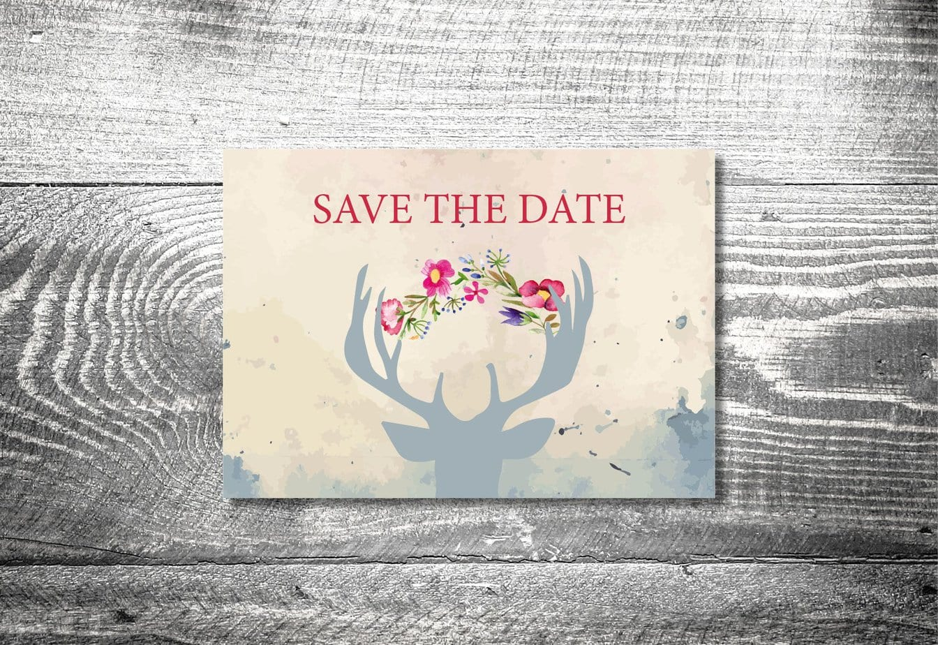 Save the Date Hirsch Postkarte  2Seitig  ab 070