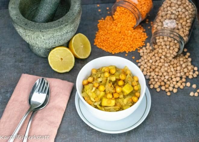 Wintercurry aus Kartoffeln, Rote Linsen, Kichererbsen  nach einem indischem Basisrezept