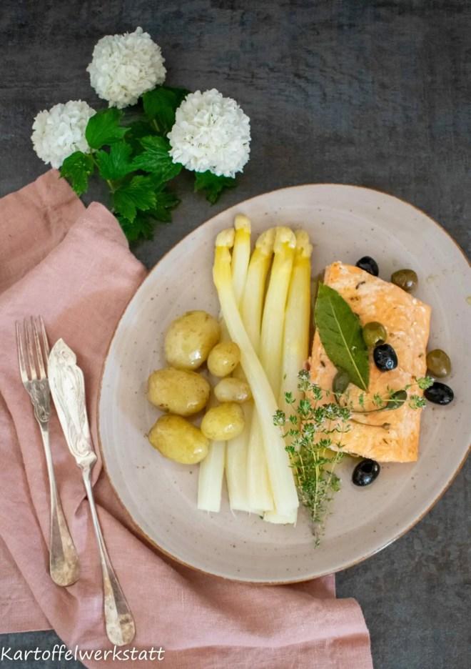 Confierter Lachs mit neuen Kartoffeln und frisch gestochenem Spargel