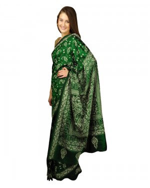 Dark Green Kantha Work Pure Silk Saree