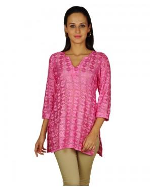 Pretty Pink Chiffon Phulkari Top
