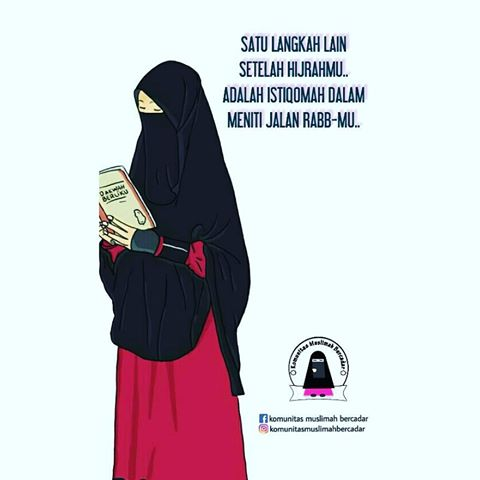 Gambar Kartun Muslimah Bercadar Baca Buku  Kartun Muslimah