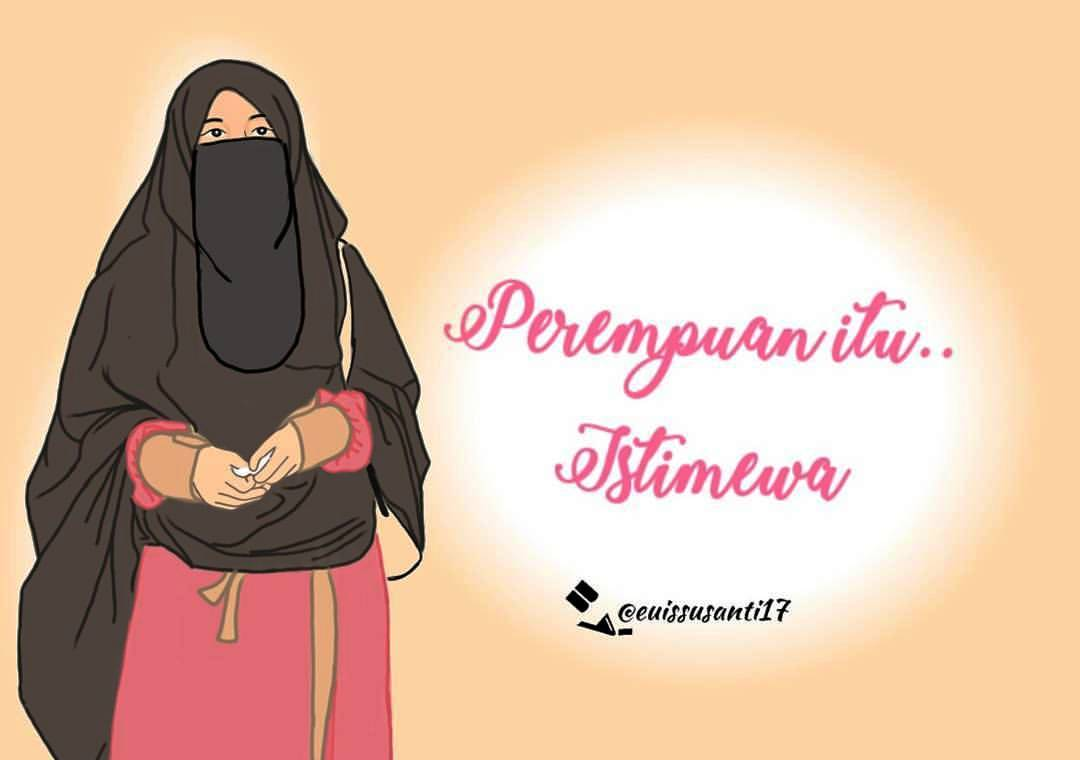 50 Gambar Kartun Muslimah Bercadar Cantik Berkacamata Kartun