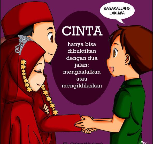 24 Gambar Kartun Muslimah Cantik Jatuh Cinta