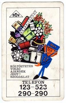 BOY Szolgálat (költöztetés, virág, ajándék, jegy) - 1973
