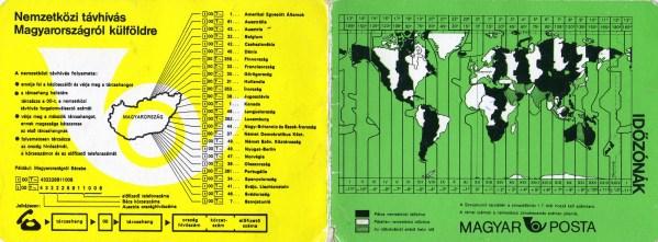 Magyar Posta (nemzetközi távhívás, időzónák) - 1985