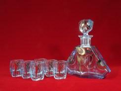 1930-50年製デキャンタ・セット(グラス6客) H21.5cm x D18.5cm (デキャンタ) H6cm X D5.7cm (グラス)