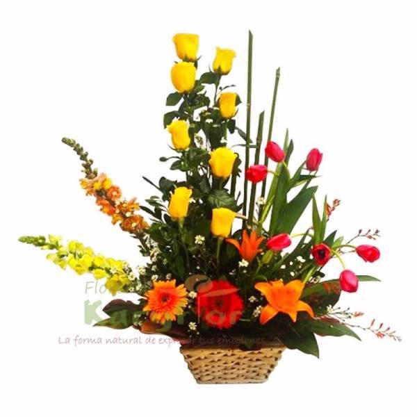 Canasta con 8 rosas, 7 tulipanes, liliums, gerberas, variedad de flores y fino follaje, incluye tarjeta de dedicatoria. Pueden adicionarles chocolates ingresando a opcion REGALOS en la parte superior de la Pag. web.