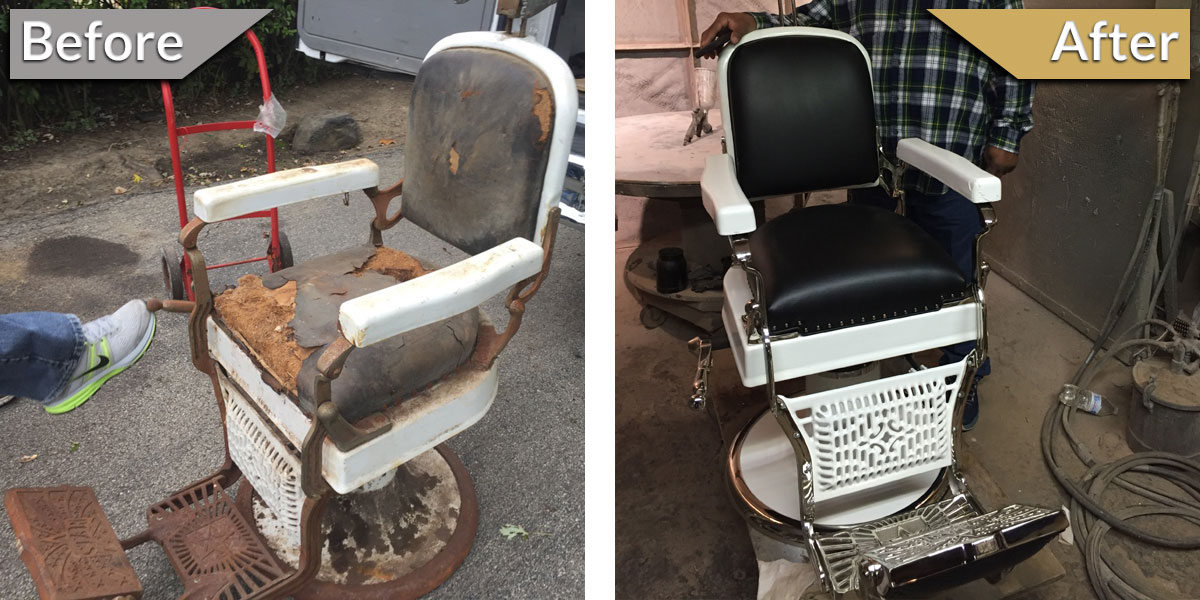 antique wood barber chair ergonomic measurements specialty item restoration in chicagoland