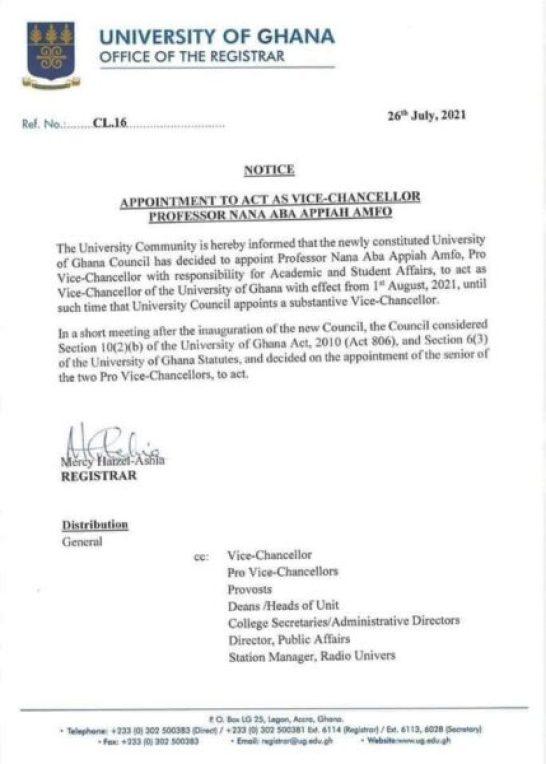 University of Ghana appoints Prof. Nana Aba Appiah Amfo as Ag. Vice – Chancellor 1