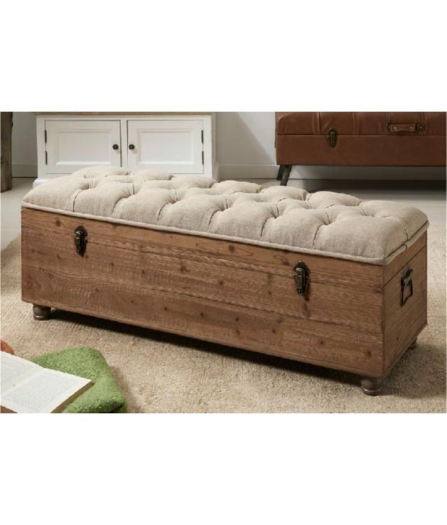 Comprar Baldescalzador con caja de madera y tapizado beige