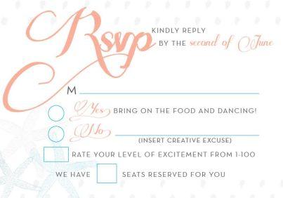 RSVP Card for Seashore Wedding Invitations