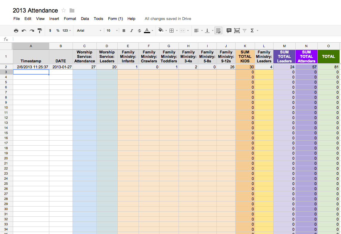 Google Sheets Attendance Template