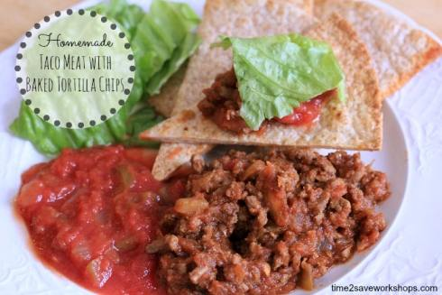 Homemade taco meat with baked chips