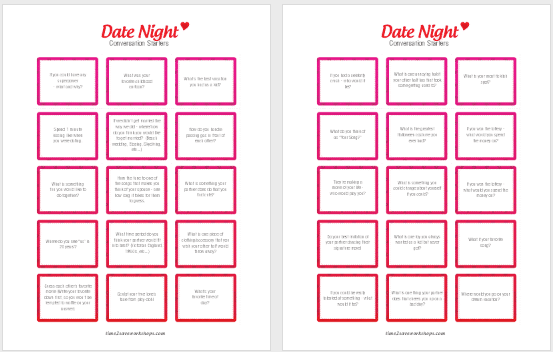 Free Printable Date Night Conversation Starters Kasey Trenum