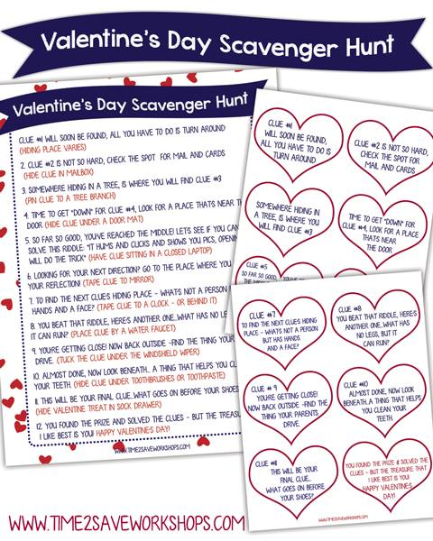 picture about Printable Internet Scavenger Hunt identify Valentine Scavenger Hunt for Small children (Cost-free Printable Clues