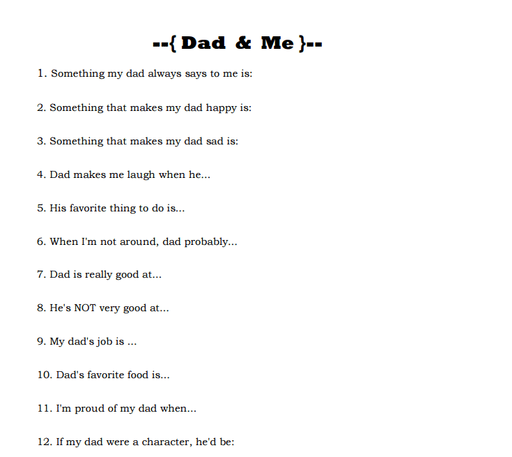 photograph about Dad Questionnaire Printable named Fathers Working day Printable Father Me Questionnaire Kasey Trenum
