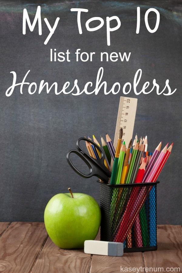 top 10 list for new homeschoolers