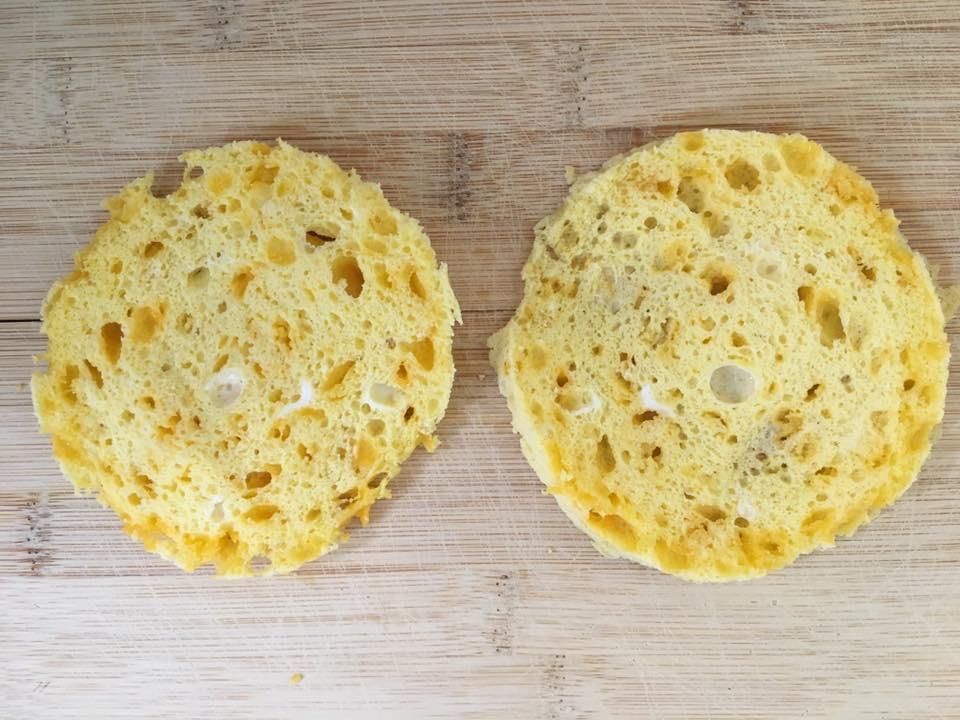 90 second bread cut in half