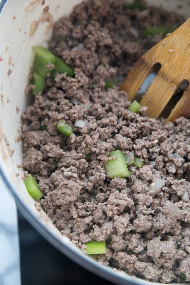 browned ground beef in a pot