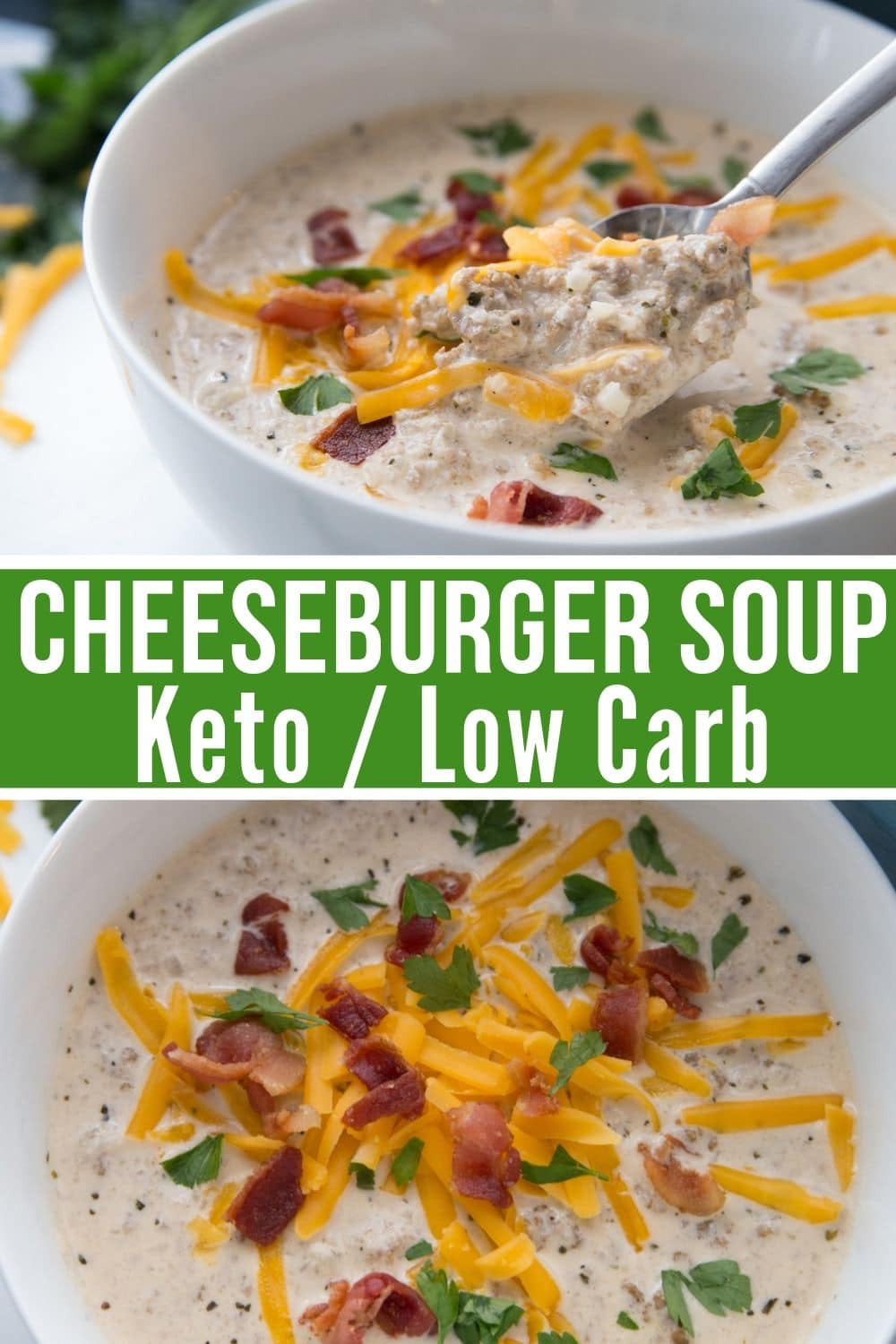 keto cheeseburger soup recipe collage