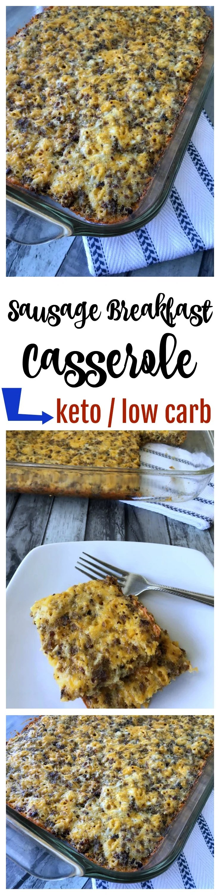 Make this delicious Keto Breakfast Casserole with sausage as a perfect prep ahead meal! Easy breakfast recipes like this are ideal for low carb diets and the ketogenic diet lifestyle! Add this to your keto menu plan today!