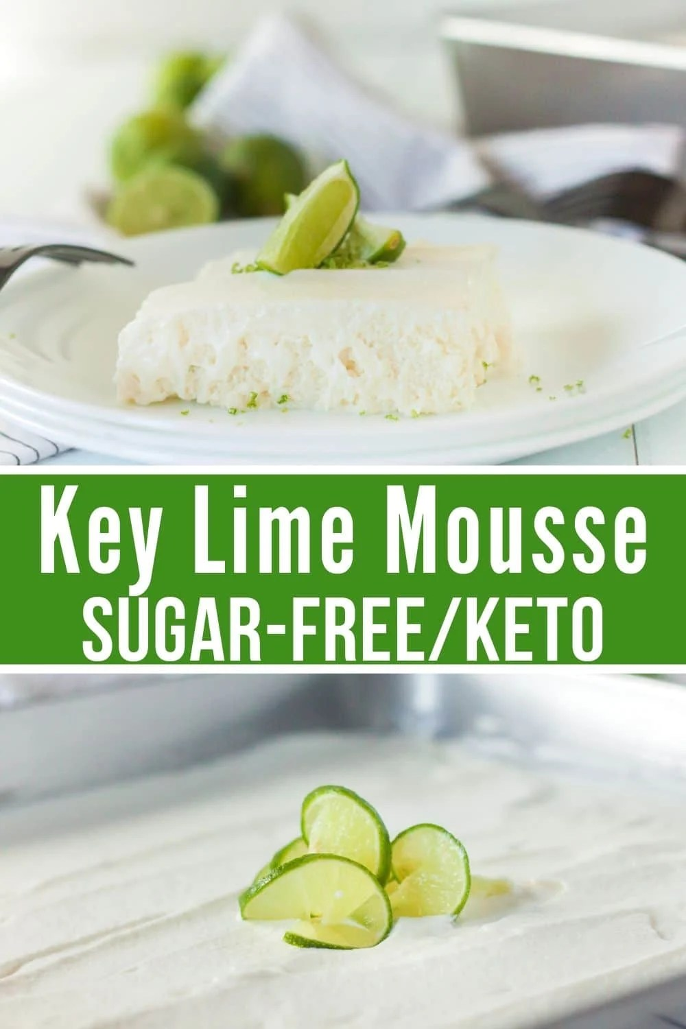 collage of keto key lime mousse
