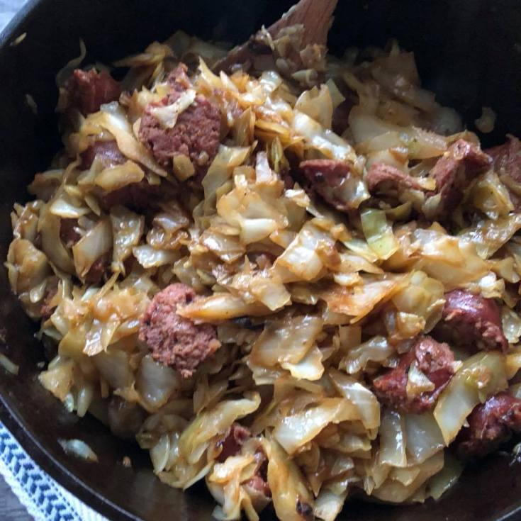 smoked sausage & Cabbage