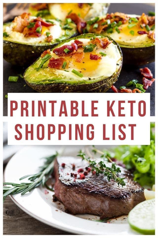 keto collage image for a printable keto shopping list