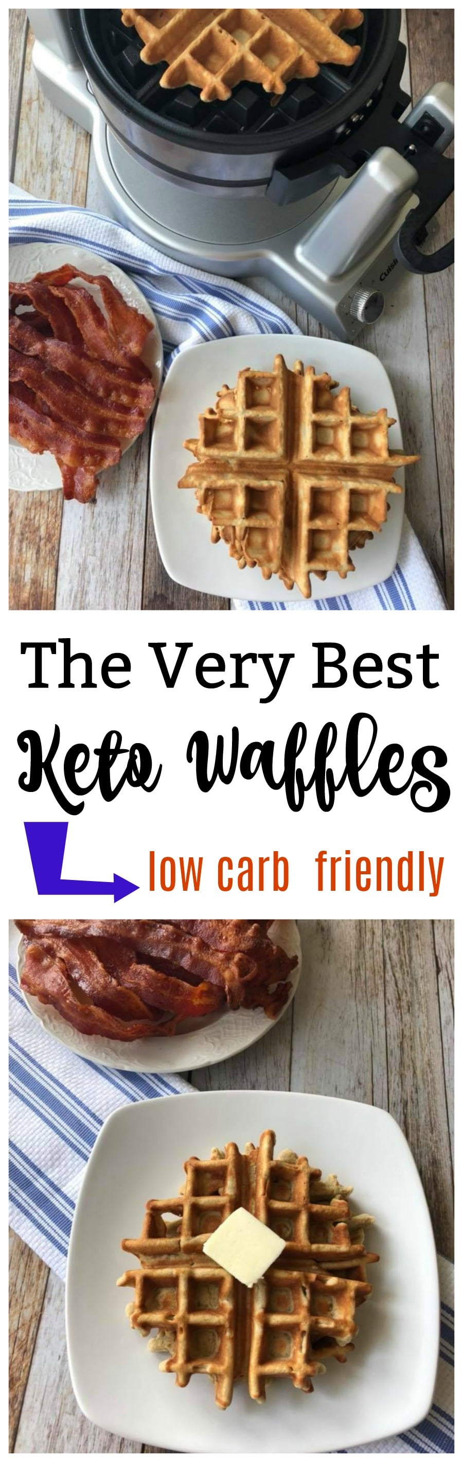 The Very Best Keto Waffles are amazingly light and fluffy and so easy to make. You can make a batch to freeze for easy breakfasts later. These are a perfect prep ahead breakfast idea that fits into the low carb diet plan!