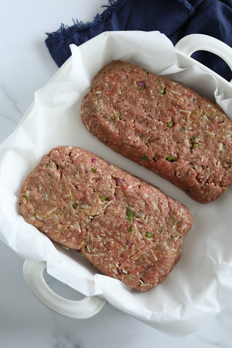 two loaves of keto meatloaf in a baking dish