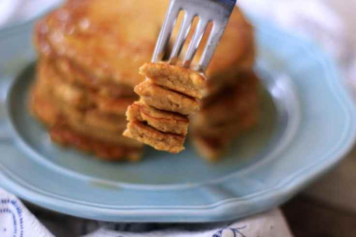 low carb pancake plated with a bite on a fork