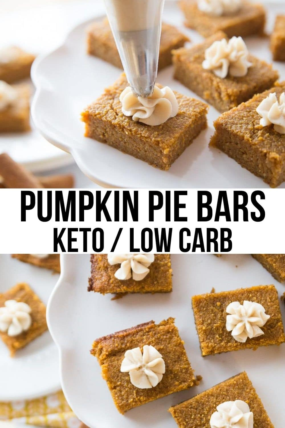keto pumpkin bars on a white plate with a dollop of cream cheese icing