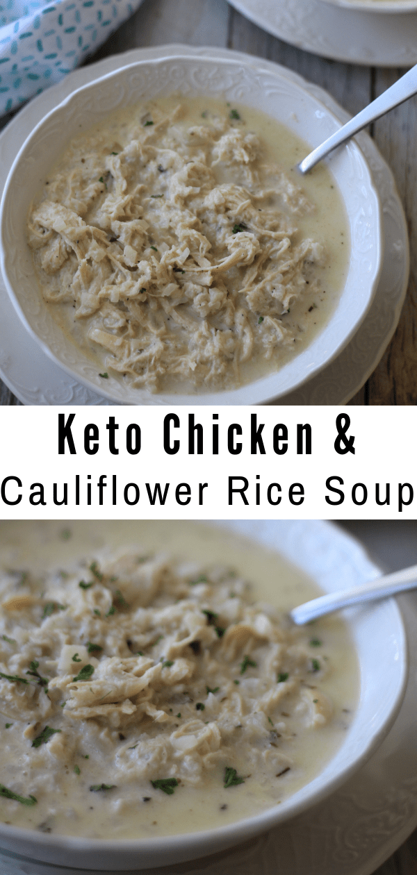 Keto Chicken & cauliflower rice soup