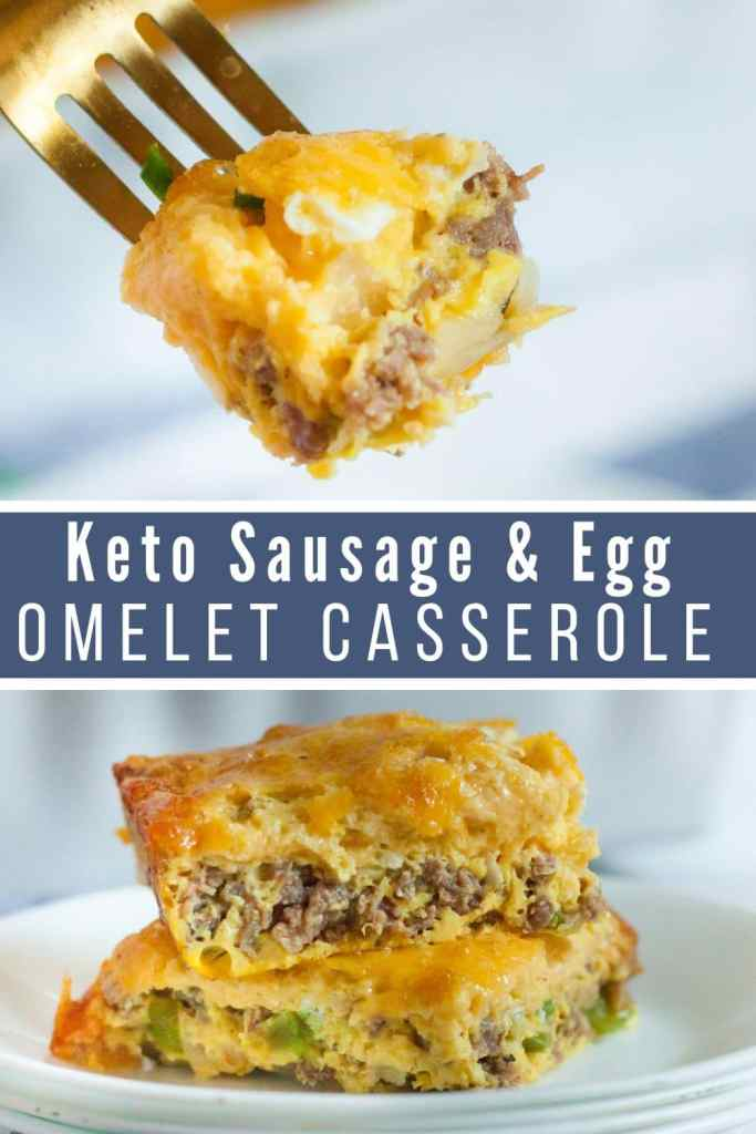 collage of two pics with keto sausage & egg omelet casserole