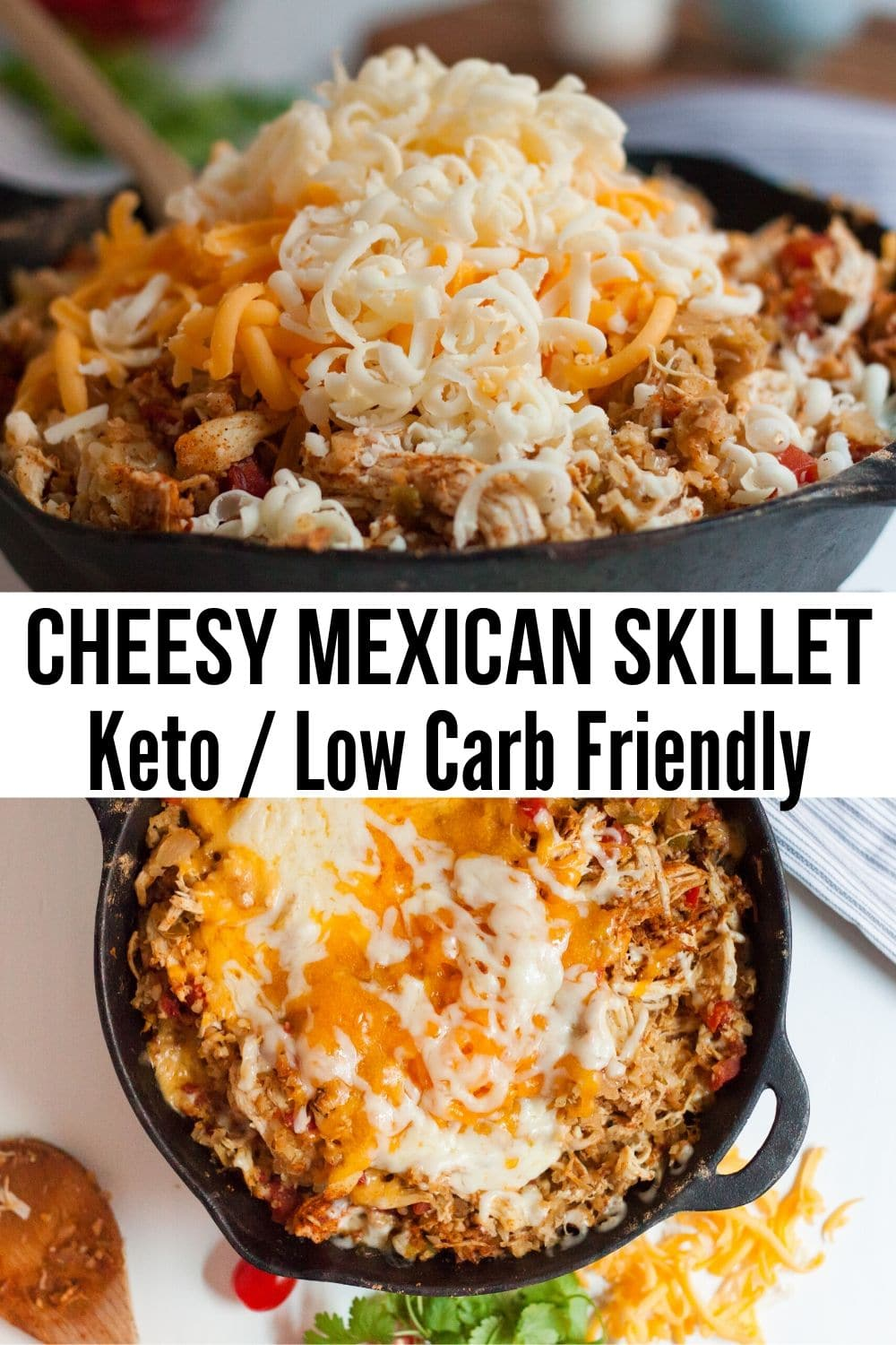 collage of pics of cheesy mexican skillet