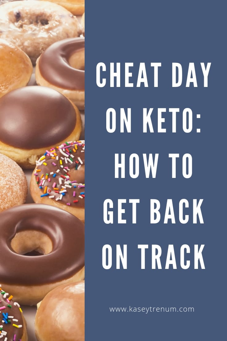"Picture of donuts with text that says ""Cheat Day on Keto: How to Get Back on Track"""
