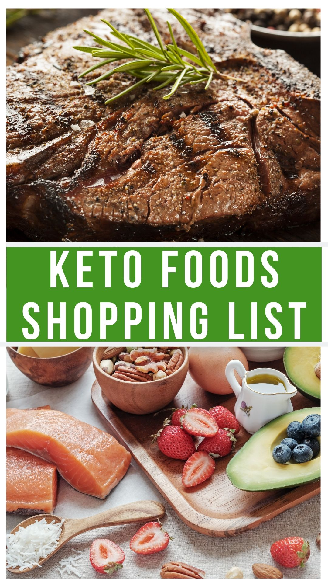 keto foods collage with steak in the top picture then a tray of low carb foods in the bottom.