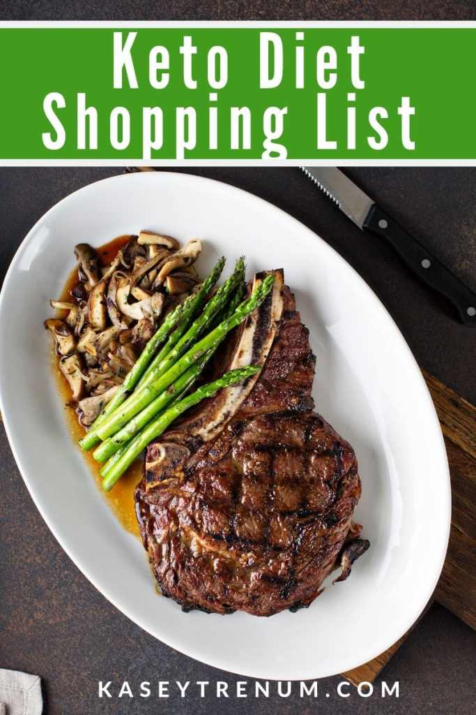 low carb foods - grilled steak with asparagus and mushrooms on a plate