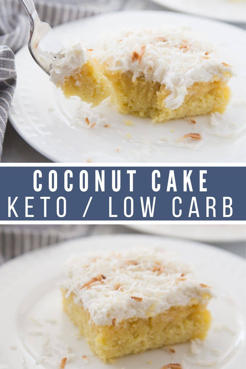 collage picture of two pictures of low carb coconut cake
